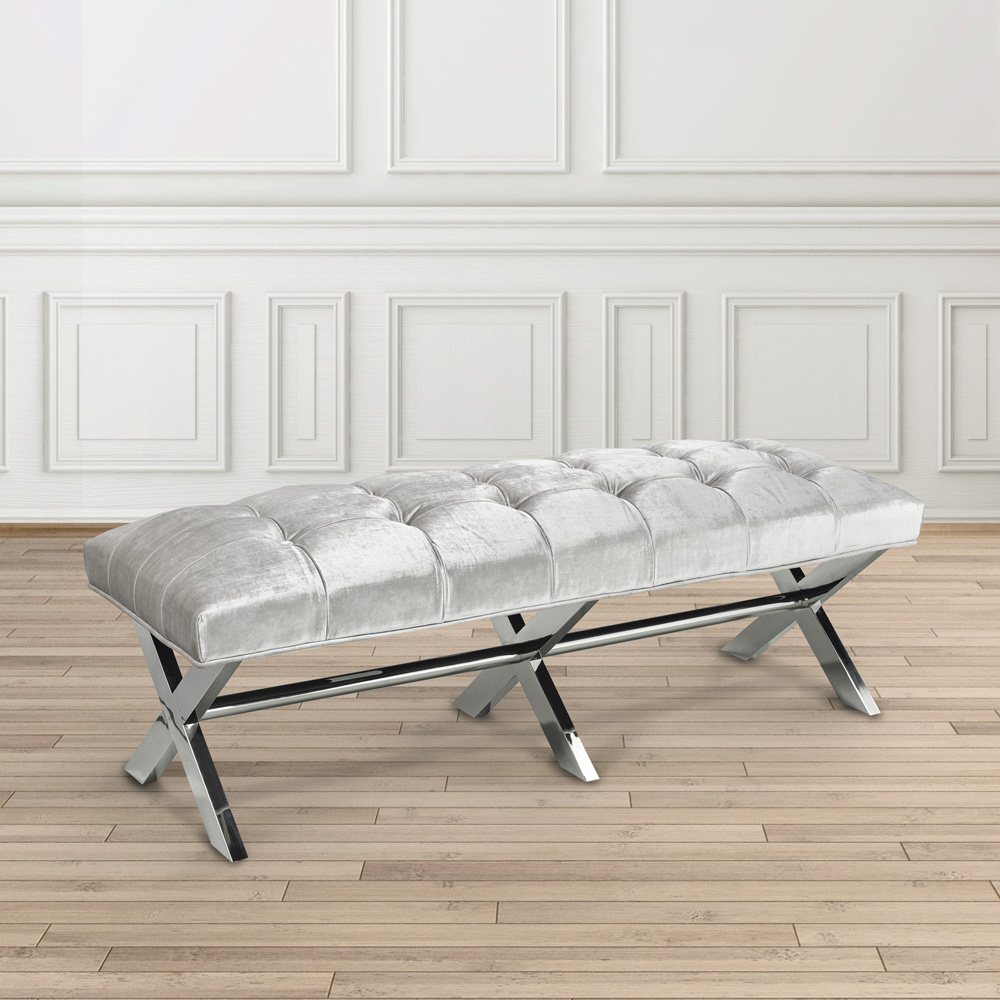 Lauren Grey Velvet Bench