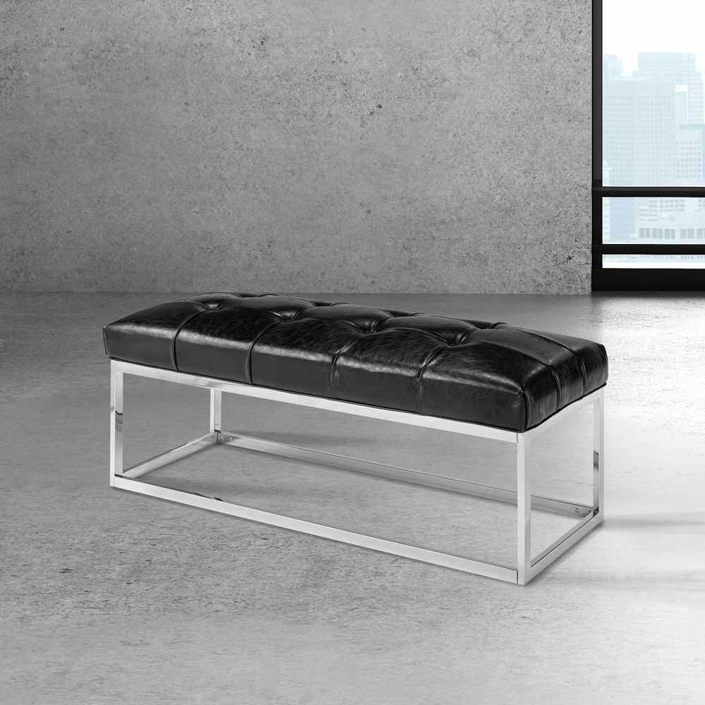 Modern Black Leatherette Bench Condo