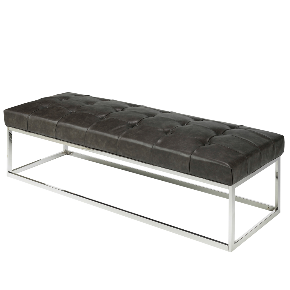 Modern Grey Leatherette Bench