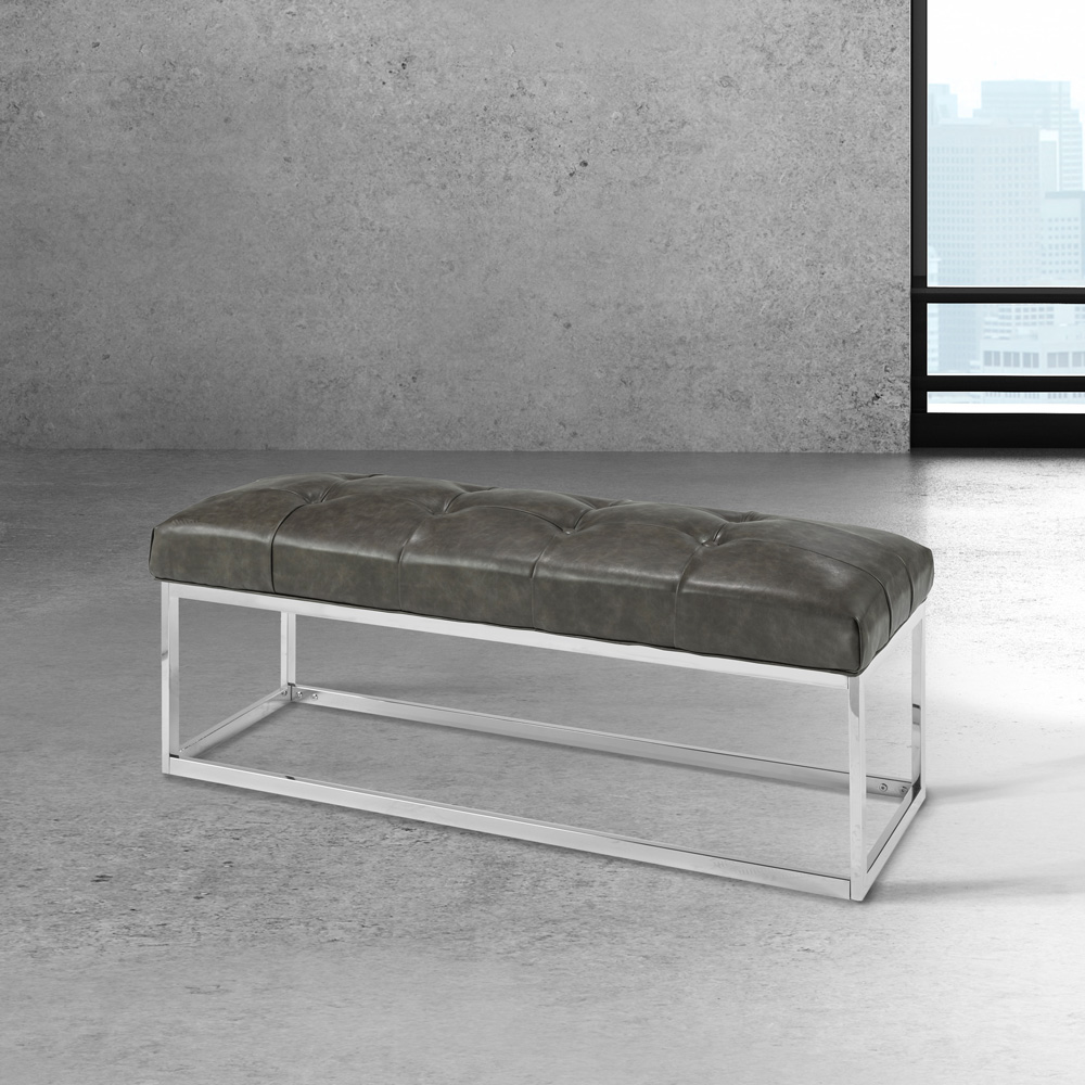 Modern Grey Leatherette Bench Condo