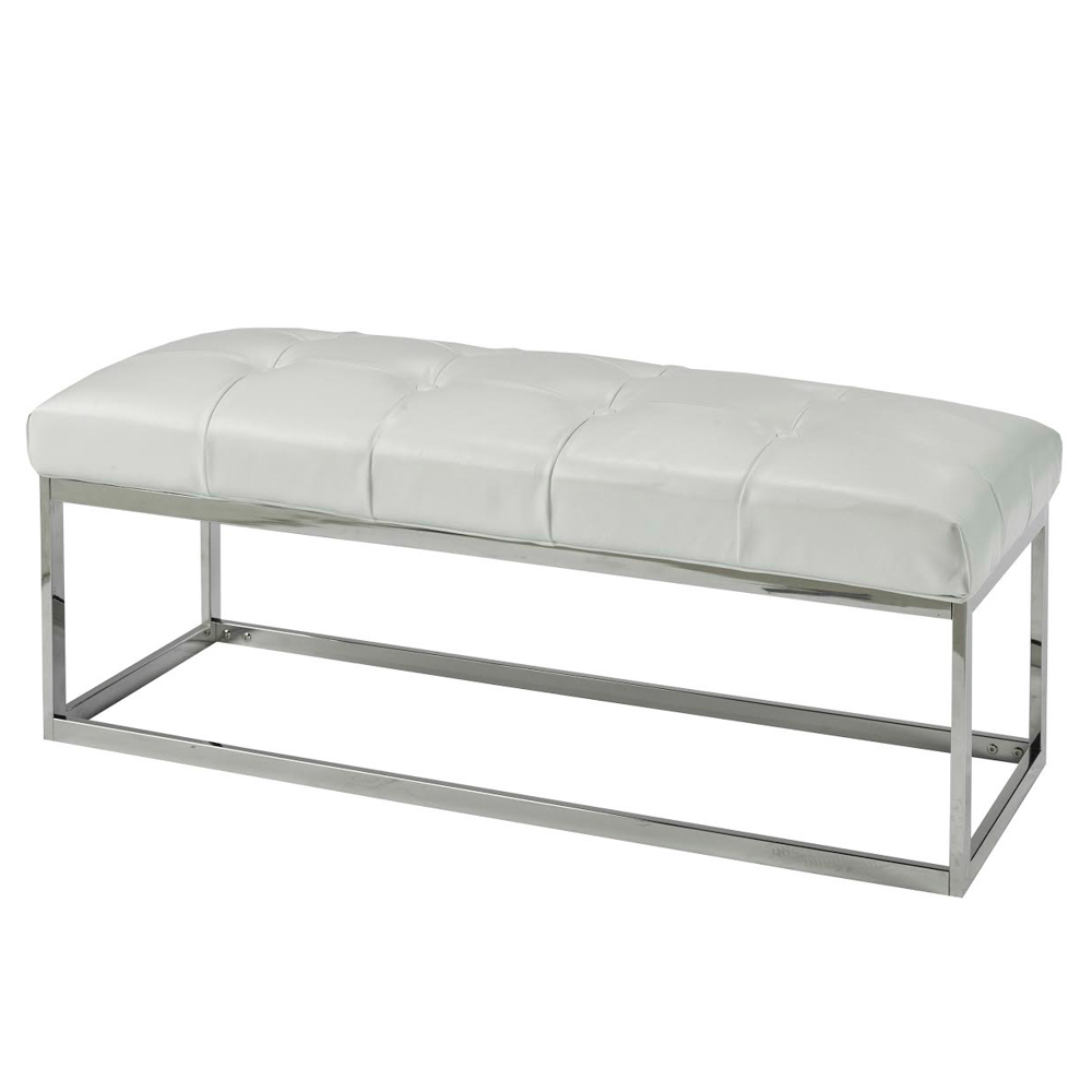 Modern White Leatherette Bench Condo