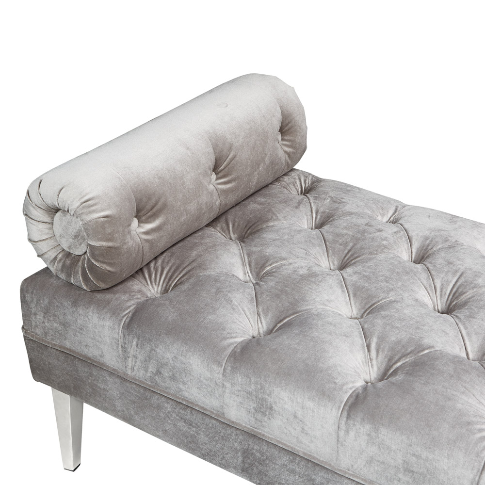Prado Bench: Grey Velvet