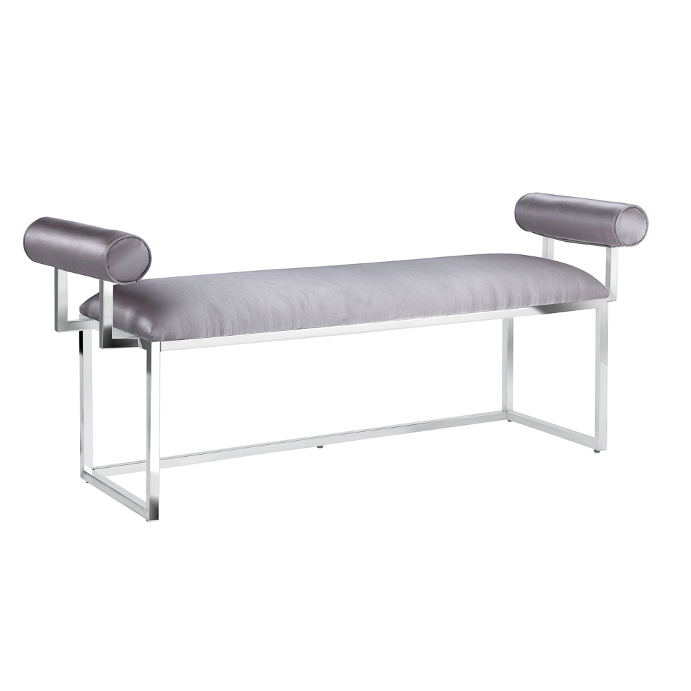 Serena Silver Satin Bench