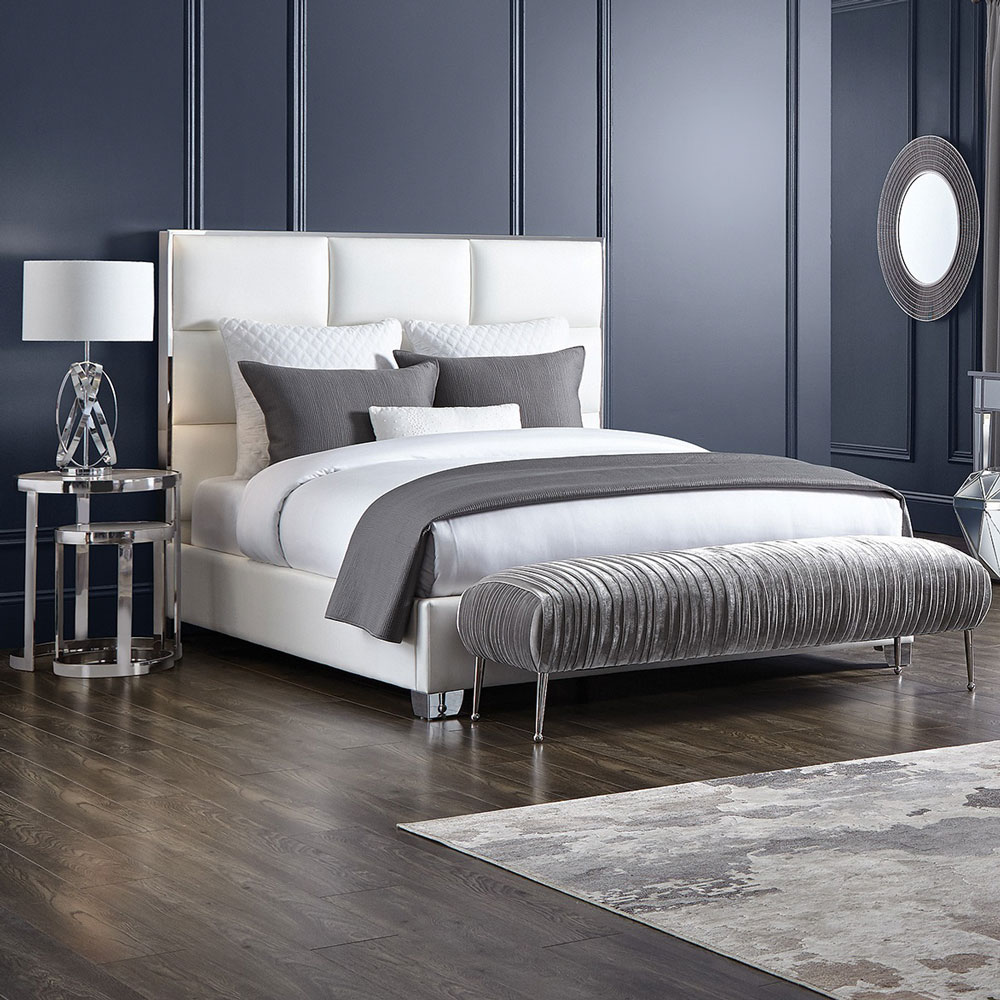 Blair White Leatherette Bed