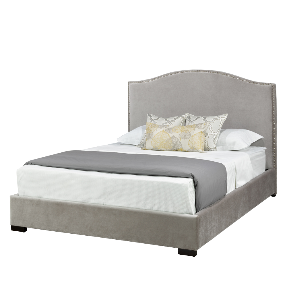 Jameson Grey Velvet Queen Bed