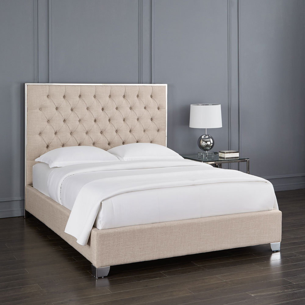 Kroma Beige Fabric Queen Bed
