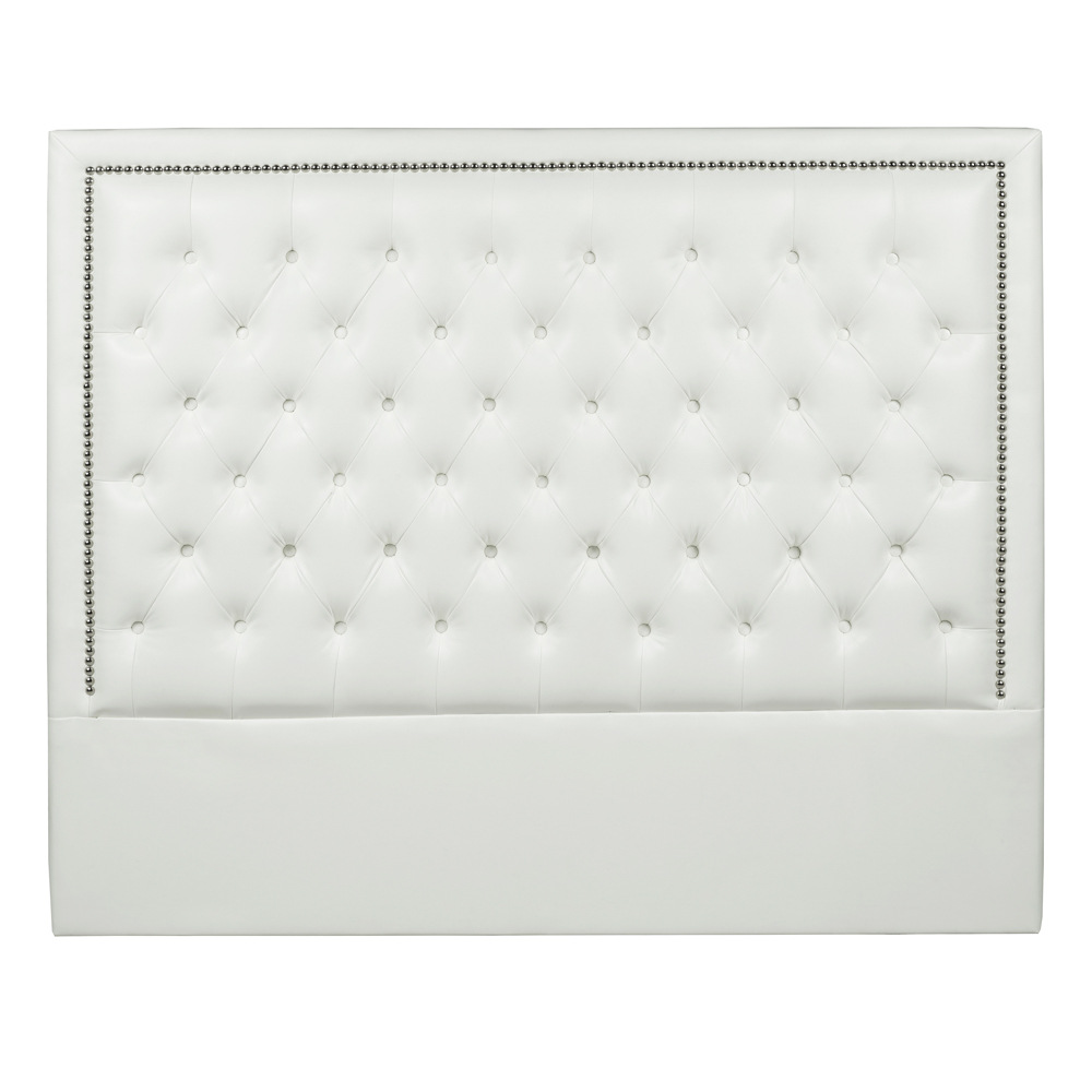 NP White Leatherette Queen Headboard