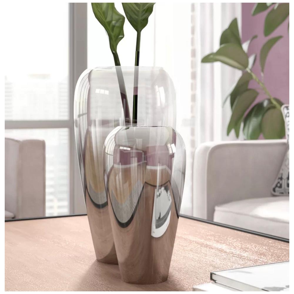 Silve Glass Vases (Set Of 2)