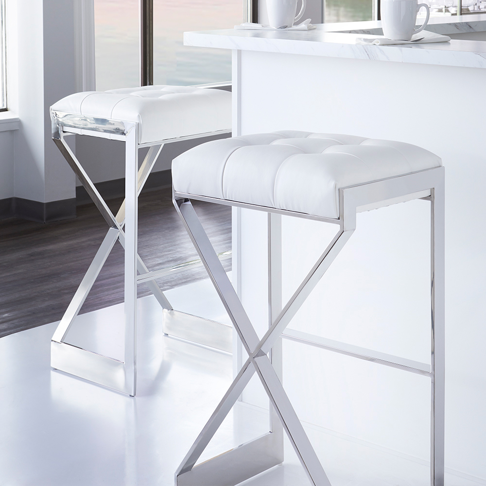 Criss Cross White Leatherette Counter Stool