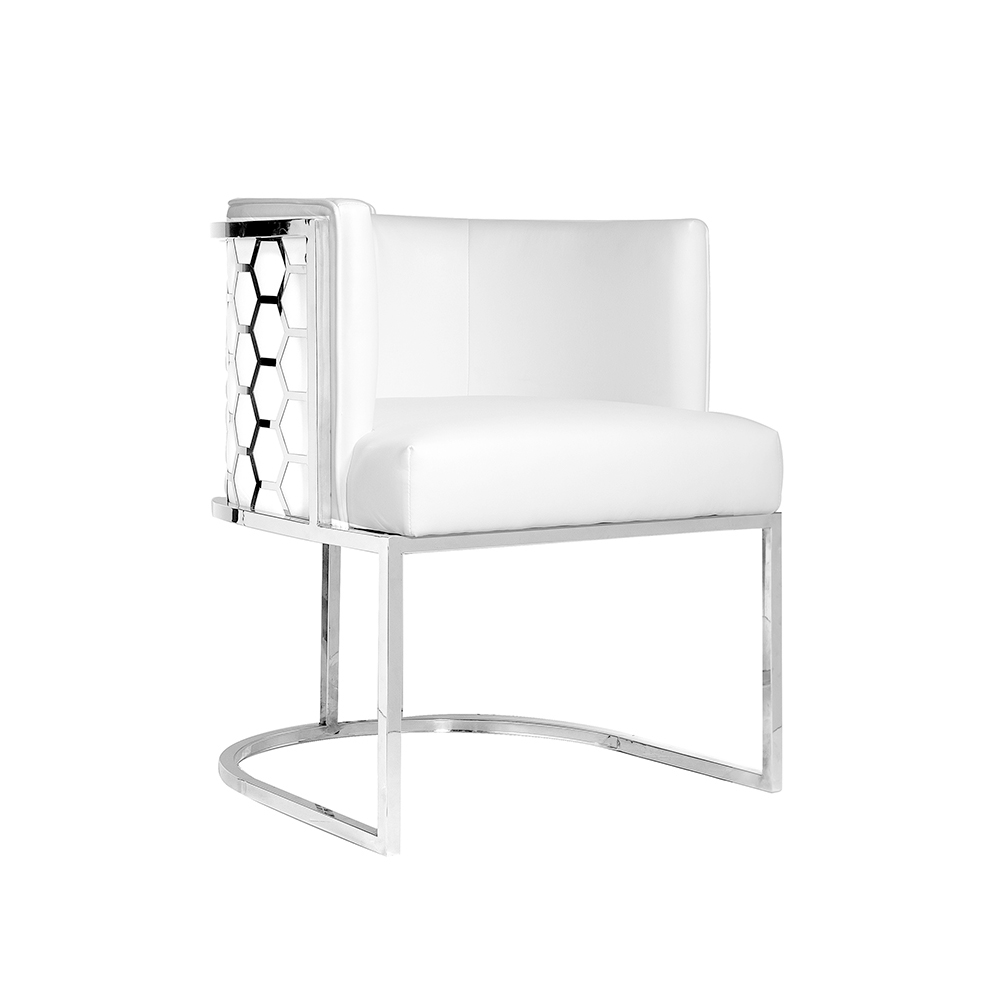 Chamberlain Chair: White Leatherette