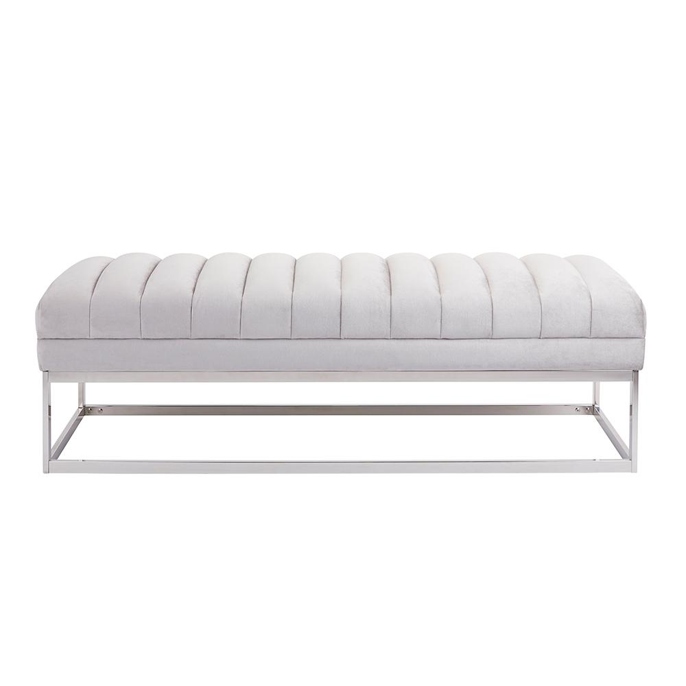 Nova Grey Velvet Bench