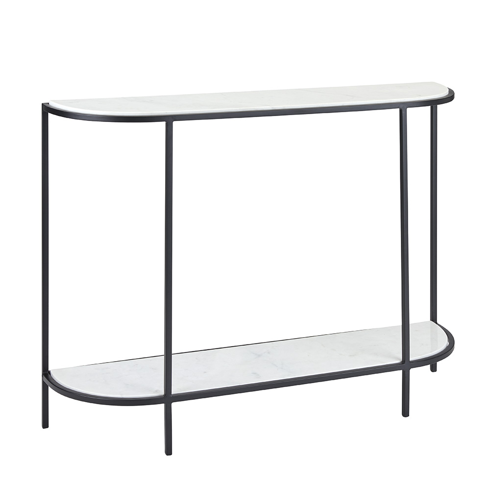 HALF ROUND CONSOLE TABLE  - BLACK FINISH
