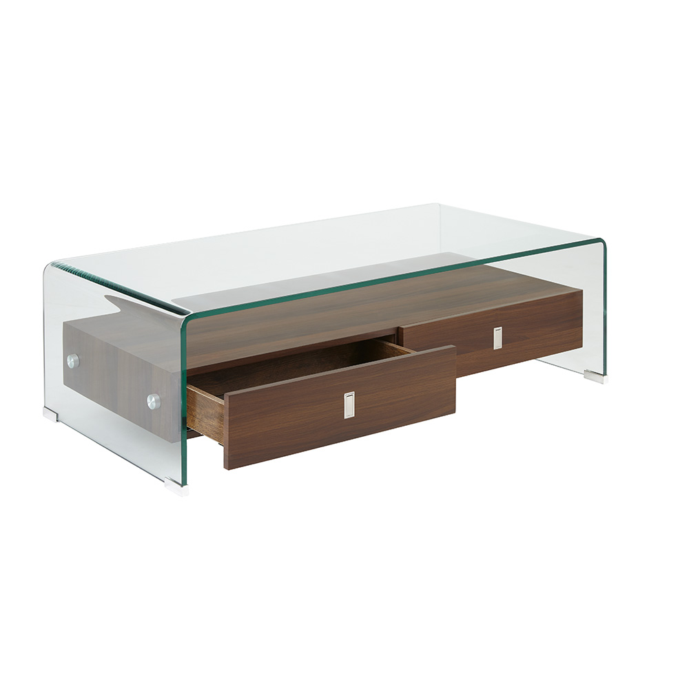Bent Glass Coffee Table with Wood Shelves