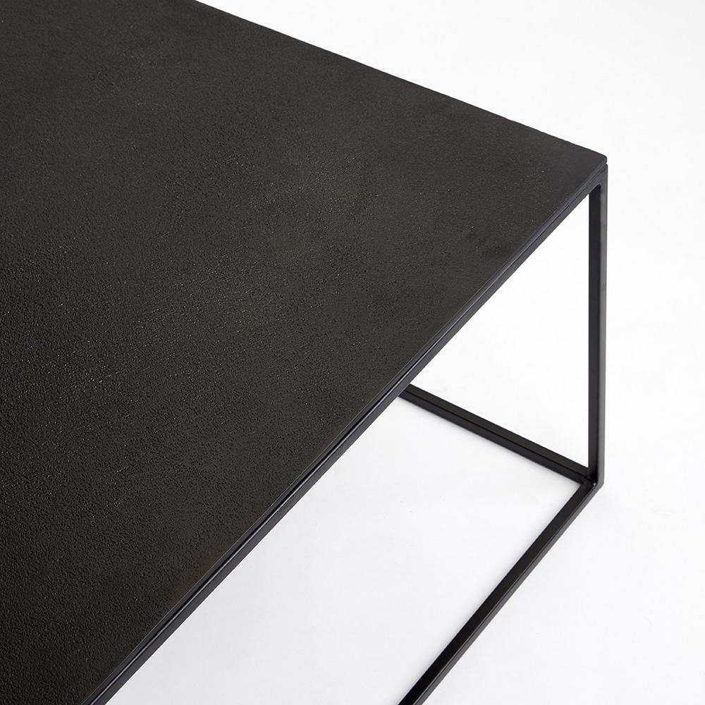IRON SQUARE TABLES WITH BLACK ALUMINUM TOP