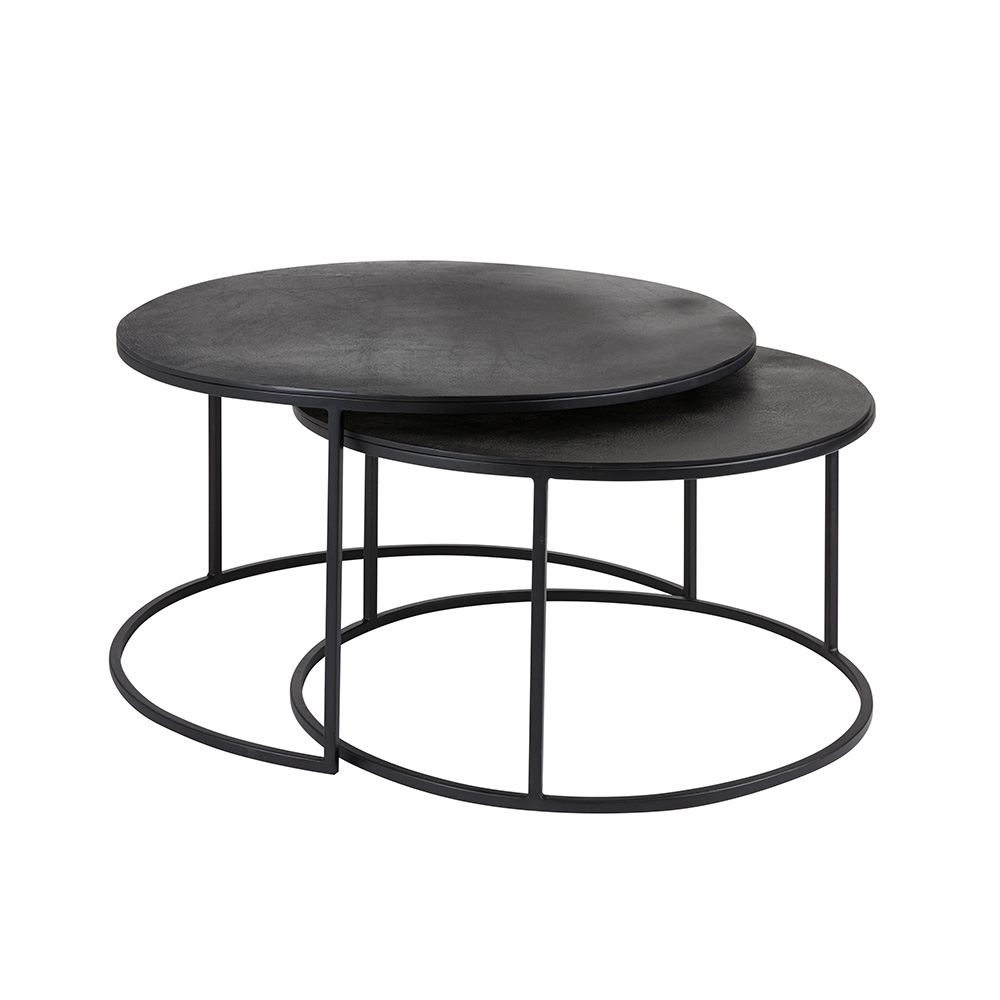 IRON ROUND TABLES WITH BLACK ALUMINUM TOP