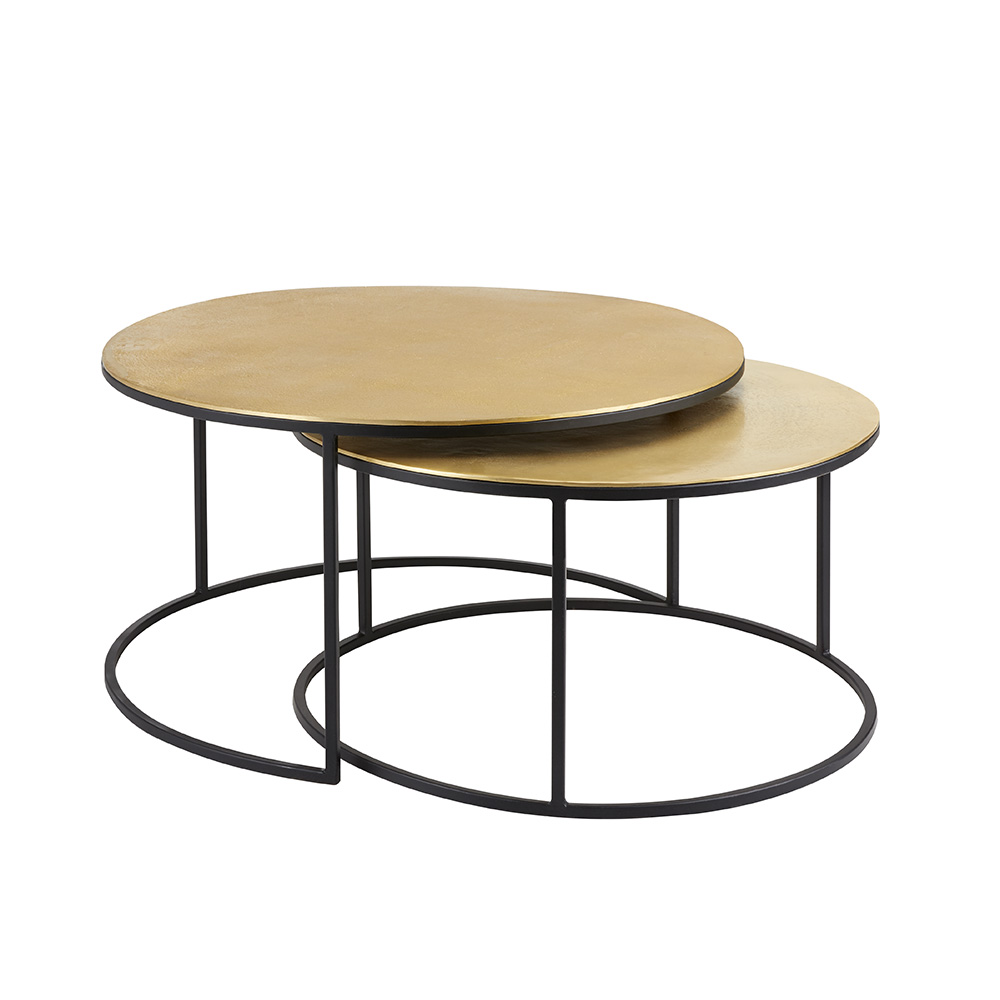 IRON ROUND TABLES WITH GOLD ALUMINUM TOP