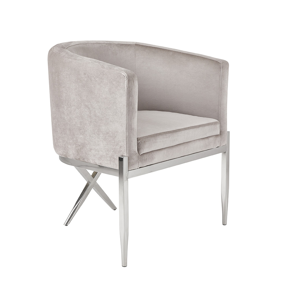 Anton Accent Chair - Grey Velvet