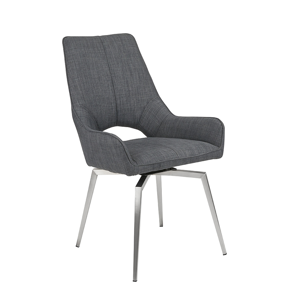 Bromley Swivel Dining Chair - GREY LINEN