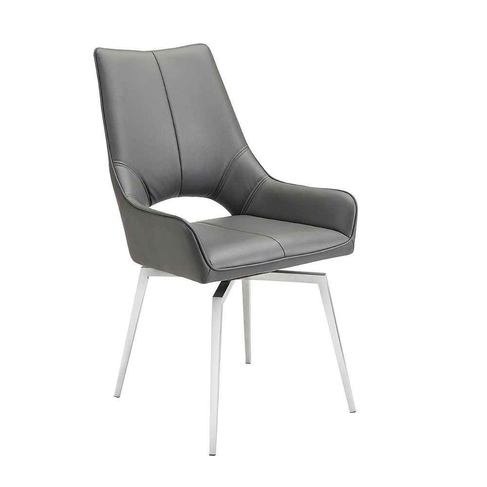 Bromley Swivel Chair: Grey Leatherette