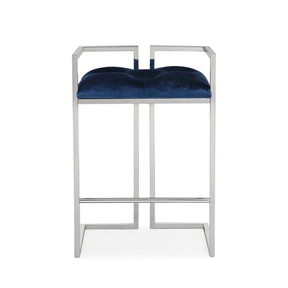 Coralie Blue Velvet Kitchen Counter Stool