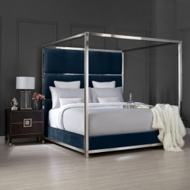 Pillar Bed – Blue Velvet