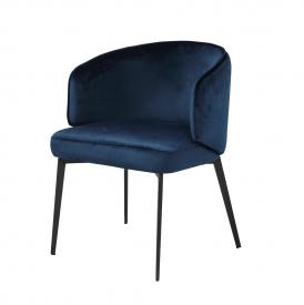Silva Blue Velvet Chair - Black Frame