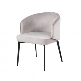 Silva Grey Velvet Chair - Black Frame