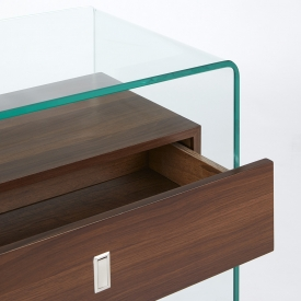 Bent Glass Console Table with Wood Shelves