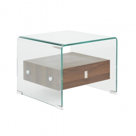 Bent Glass End Table with Wood Shelves