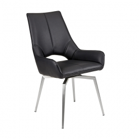 Bromley Swivel Dining Chair - BLACK LEATHERETTE
